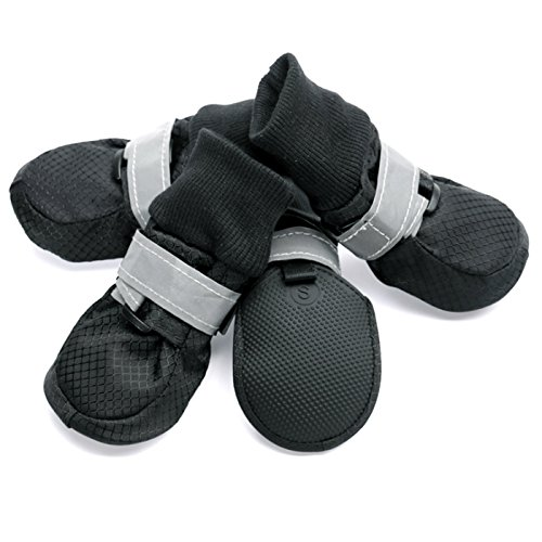 Alfie Pet by Petoga Couture - Howard All Weather Set of 4 Dog Boots - Color Black, Size: Small (Designer Dog Boots)