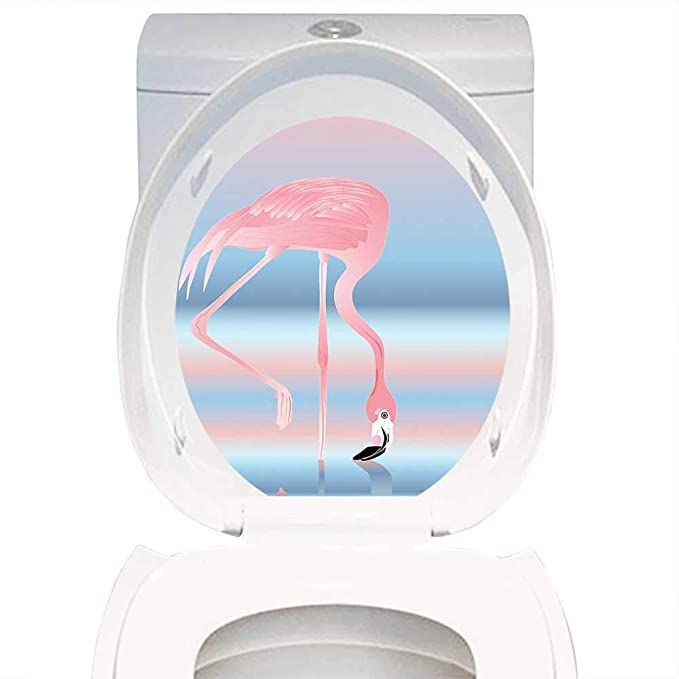 Swell Amazon Com Qianhe Home Toilet Seat Sticker Flamingo Decor Short Links Chair Design For Home Short Linksinfo