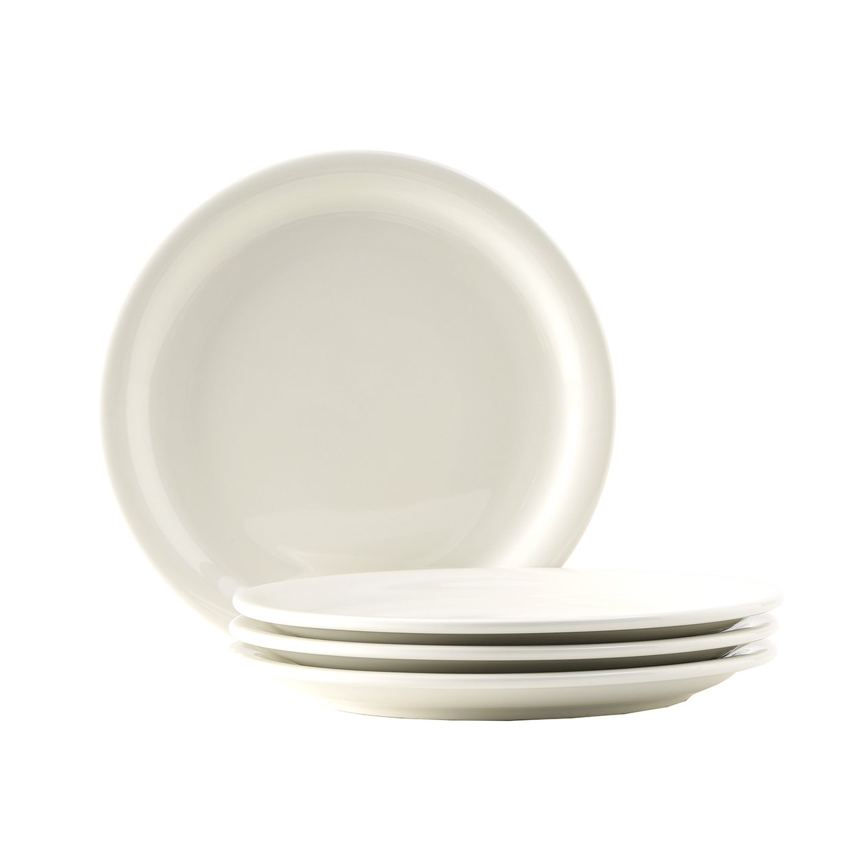 """Tuxton Home Nevada American White (Eggshell) 10 - 1/2"""" Narrow Rim Dinner Plate - Set of 4; Heavy Duty; Chip Resistant; Lead and Cadmium Free; Freezer to Oven Safe up to 500F"""