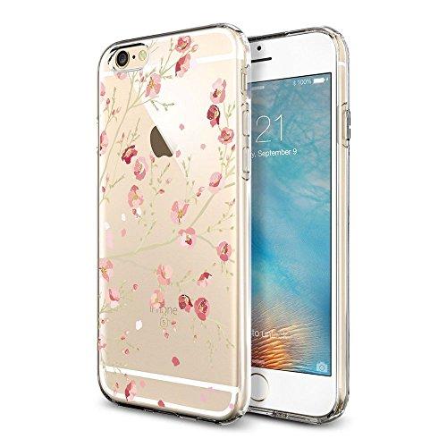 iPhone 6 Plus / 6S Plus Cover Hülle , IJIA Ultradünne Transparente Rosa Gelbe Blumen TPU Weich Silikon Stoßkasten Handyhülle Schutzhülle Handyhüllen Schale Case Tasche für Apple iPhone 6 Plus / 6S Plu