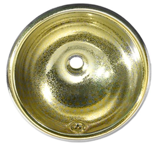 Whitehaus WH602BBC-PBRAS Round 13 3/4-Inch Crackle Textured Drop-In Basin with Overflow, Polished Brass