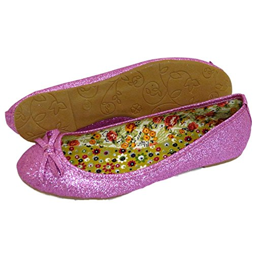 Ballet Bailarinas Glitter Boneca 3 Confortável Escorregar Pink Ladies Bombas Para Plana Na 8 Uk w4gCnp0q