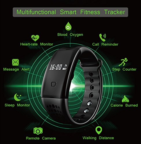 Heart Rate Watch, Arvin Blood Pressure Blood oxygen Monitor Smart Watch Sports Bracelet Wristband Activity Tracker Fitness Bracelet Cardio Watch with Pedometer Sleep Monitor for iPhone IOS Android