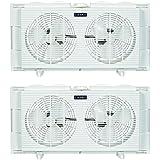 Lasko Slim Profile 2 Speed 22-34 Inch Wide Dual Twin Window Fan, White (2 Pack)