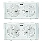 Lasko Slim Profile 2 Speed 22-34 Inch Wide Dual Twin Window Fan, White (2 Pack)