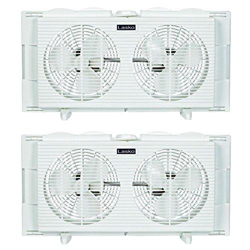 Window Twin Lasko (Lasko Slim Profile 2 Speed 22-34 Inch Wide Dual Twin Window Fan, White (2 Pack))
