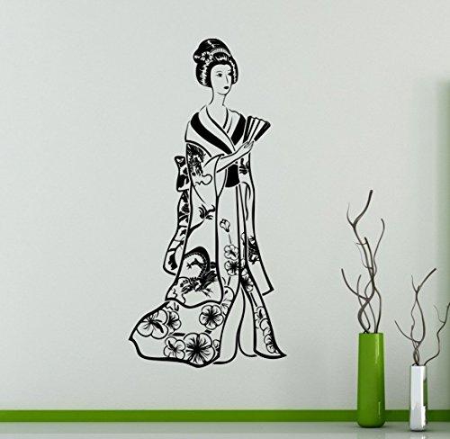 Japanese Geisha Wall Vinyl Decal Asian Culture Wall Sticker Home Wall Art Decor Ideas Room Wall Interior Removable Design 4(gsa)