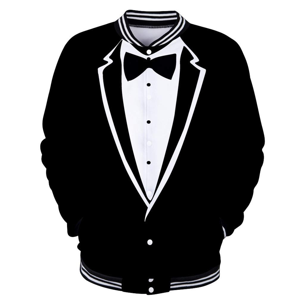 TOOPOOT New Men Suit 3D Gentleman Pattern Long Sleeve Button O-Neck Sweatshirt Tops Blouse