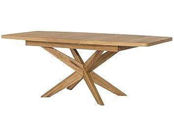 Esstisch ausziehbar eiche massiv  Tisch ausziehbar Esstisch VELLE Eiche massiv Natur furnier: Amazon ...