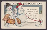 New Year's Resolution snowman snow woman snow puppy embossed postcard 1910