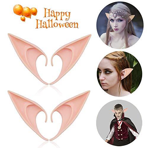 Halloween Costumes Vampire Fairy (Tropicaltree (2 Pairs) Elf Soft Ears-Halloween Cosplay Pixie Elven Vampire Fairy Ears-Elf Ear Costume Halloween Party)