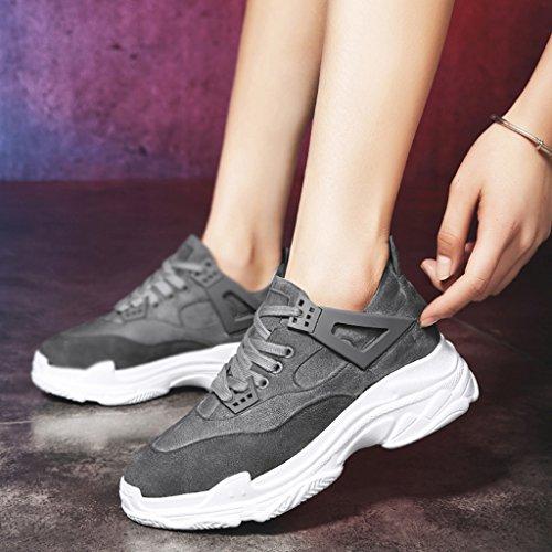 Chaussures de épais Couleur 38 fond taille de HWF Rose décontractées à Chaussures Chaussures Chaussures femmes femme sport Gris course simples Chaussures ZxqwAE1v