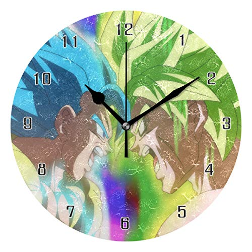 HOHOHAHE Wall Clock Dragon Ball Super Goku VS Broly Round Style,Silent Non-Ticking,Art Decorative for Kitchen Bedroom Kids Room Living Room,Large Wall Clocks Home Decor (10 Inch)