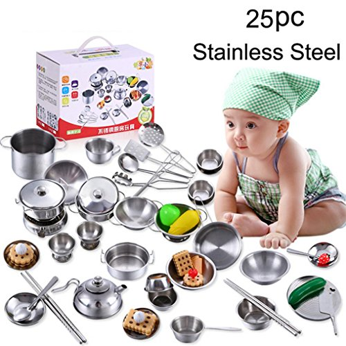 Miklan Play Kitchen Toys Pretend Cooking Toy Cookware Playset For Kids,25 -Pieces Stainless Steel Pots and Pans with Cooking Utensils - Cute & Safe - Kid Toy Steel Safe