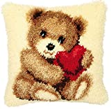 Beyond Your Thoughts DIY Latch Hook Kit Custion Covers Bear with Hearts 16 x 16 inch