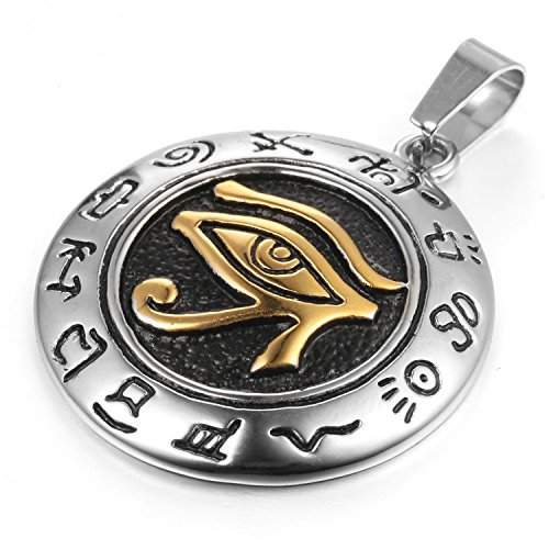 MENDINO Mens Stainless Steel Pendant Necklace Eygptian Eye of Horus Gold Tone with a 22 inch Chain