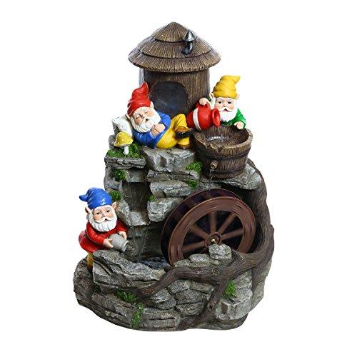 Alpine Corporation Three Gnomes Water Wheel Fountain