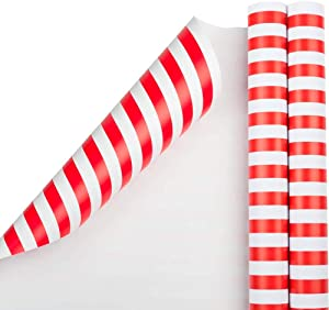 JAM PAPER Gift Wrap - Striped Wrapping Paper - 25 Sq Ft per Roll - Red & White Stripes - 2/Pack