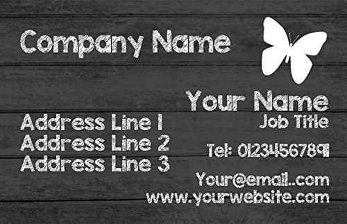 Wood Business Grey Cards Butterfly Grey Wood Personalized EwT80w