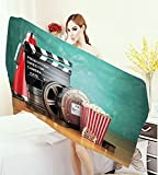 homecoco Movie Theater 3D Printed Microfiber Beach Towel Production Theme 3D Film Reels Clapperboard Tickets Popcorn and Megaphone Thick Towels Multicolor