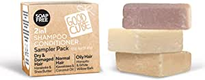 Good Cube 2 in 1 Shampoo Conditioner Sampler Bars for Dry/Damaged, Normal and Oily Hair - pH Balanced and 100% Soap Free Bars - Gentle Daily Use - Vegan and Cruelty-Free - 3 x 40g