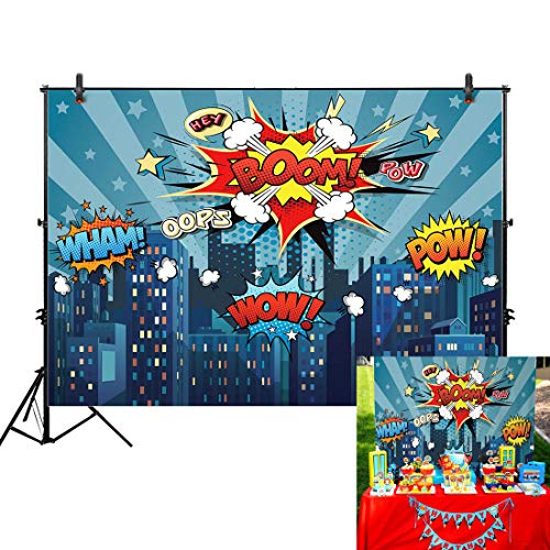 Allenjoy 7x5ft Superhero Themed Backdrops Blue Super City Skyline Buildings Children Boy Birthday Photography Party Event Banner Photo Studio Booth Background Baby Shower Photocall Fabric Material -