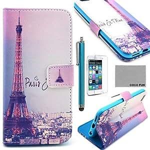 YULIN Coco Fun® torre Eiffel en el patrón de la noche caja de cuero de la PU con protecter pantalla, soporte y la aguja para el iPhone 6 Plus