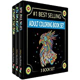 Adult coloring books set.Three Books! Designs From The Sky, Land & Sea. Coloring books for adults relaxation