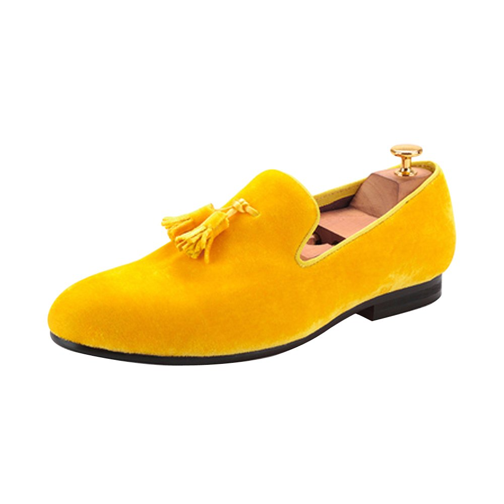 Men's Velvet Shoes British Style Loafers Slip on Flats with Tassel Gold Yellow US size 11