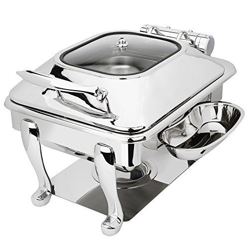 Eastern Tabletop 3934GS Crown 6 Qt. Stainless Steel Square Induction Chafer with Freedom Stand and Hinged Glass Dome Cover