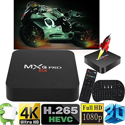 Cewaal (EU Pulg)Smart TV Box, Android 6.0 Amlogic RK3229 1GB+8GB Quad Core Network WiFi 1080P HD 4K Smart TV Box Media Player +I8 Keyboard for MXQ Pro