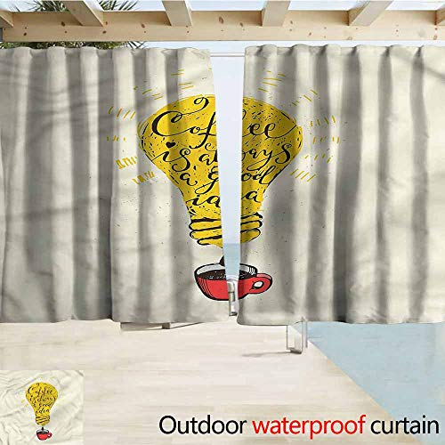 MaryMunger Indoor/Outdoor Top Curtain Quote Coffee is Always a Good Idea Simple Stylish Waterproof W63x72L Inches ()