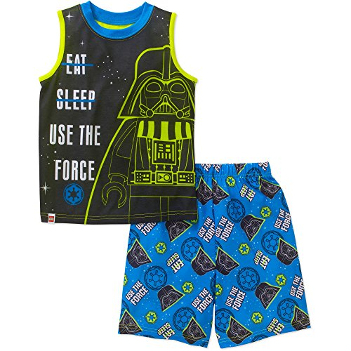 Star Wars Lego Darth Vader Little Boys 2 Piece Pajamas Shorts Set (Medium 8) (Lego Star Wars Clone Turbo Tank Set 8098)