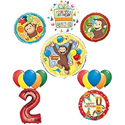 Mayflower Products The Ultimate 16pc Curious George 2nd birthday party Supplies and Balloon Decorations