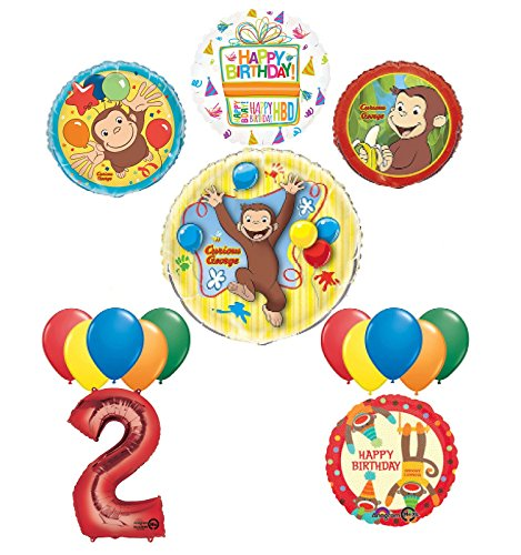 Mayflower Products The Ultimate 16pc Curious George 2nd birthday party Supplies and Balloon Decorations ()