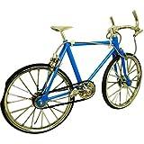 【minbako】リアル ミニチュア 自転車 1/10 合金製 選べる5色(ブラック・ブルー・レッド・イエロー・水色) クロスセット バイク クロス ドロップ 置物 小物 撮影 写真 (水色)
