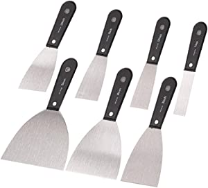 7 PCS Putty Knifes,Carbon Steel Filler Putty Knife Set,Drywall Knife/Spackle Knife/Wallpaper Scraper/Painting Tools/Home Repair Tool/Paint Remover for Wood,Versatile Set of Scraper,Gifts for Men