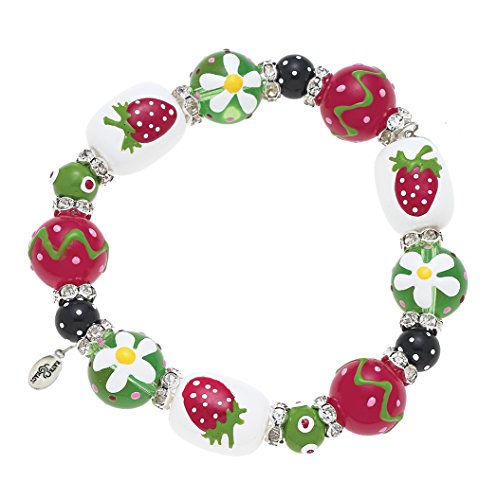 Clementine Design Kate & Macy Strawberry Sparkle Bracelet Painted Glass Beads (Painted Strawberry)