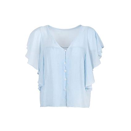 Heeecgoods Summer Trende Camiseta para Mujer de Moda Salvaje con Cuello en v Manga Corta Camisa
