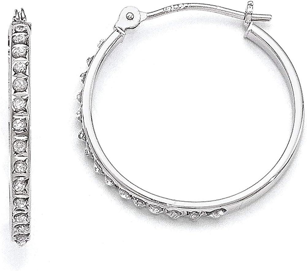 Lex /& Lu 14k White Gold Diamond Fascination Round Hinged Hoop Earrings LAL75923
