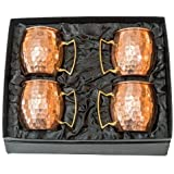Authentic Handcrafted Hammered Moscow Mule Copper Mugs Set of 4 - 100% Pure Solid Copper - 16oz Unlined No Nickel Lining + Elegant Gift Box with BONUS Recipe Card