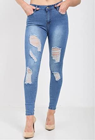 WOMENS RIPPED JEANS DISTRESSED FADED SLIM FIT LADIES SKINNY DENIM SIZES 6 TO 14.
