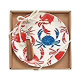 Mud Pie 4115023C Crab Print Cheese Serving Plate Set, One Size, Red/White/Blue