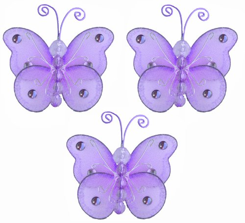 3″ Purple Mini (X-Small) Wire Bead Butterfly Butterflies 3pc set – hanging nylon nursery bedroom girls room ceiling wall decor, wedding birthday party baby bridal shower, Baby & Kids Zone