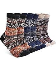 6 Pack Warm Wool Socks for Men and Women, Luckit Winter Cabin Socks Men, Vintage Fall Patterned Socks Unisex Knit Thick Cozy Socks