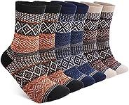 6 Pack Warm Wool Socks for Men and Women, Luckit Winter Cabin Socks Men, Vintage Fall Patterned Socks Unisex K