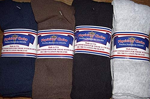 Men's Diabetic Crew Socks 13-15 Cotton Blend Physician's Choice Seamless 12 Pack Black, Blue, Brown, Gray Made in USA