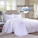 Oversized Quilts for King Size Beds Cotton World Li 3 Piece Bedspread Set King Premium Oversized Quilt Set King Thermal Bed Cover Elegant Luxury Coverlet Comfortable & Lightweight - Wrinkle & Fade Resistant (White-K, King)