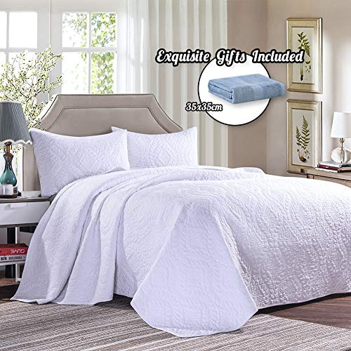 Cotton World Li 3 Piece Bedspread Set King Premium Oversized Quilt Set King Thermal Bed Cover Elegant Luxury Coverlet Comfortable & Lightweight - Wrinkle & Fade Resistant (White-K, ()