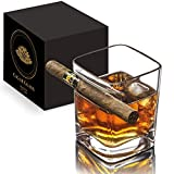 Double Old Fashioned Cigar Glass Cocktail Rock With Built In Cigar Holder - Cigar Cup Whiskey Tumbler